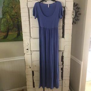 Pink Blush cornflower blue maternity maxi dress